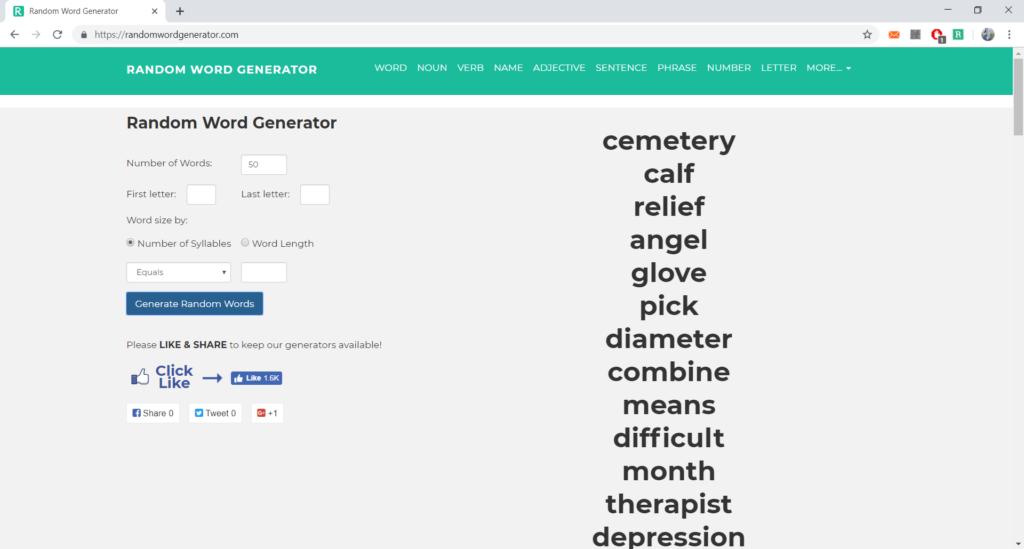 Vďaka tomuto generátoru si môžete vymyslieť aj vlastné hry narozprávanie, keďže si môžete zvoliť nielen počet slov, začiatočné písmeno aslovný druh, ale aj to, či to má byť slovo, fráza alebo dokonca veta.