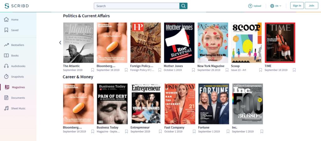 Na Scribd-e si môžete prečítať aj množstvo populárnych zahraničných časopisov vangličtine.