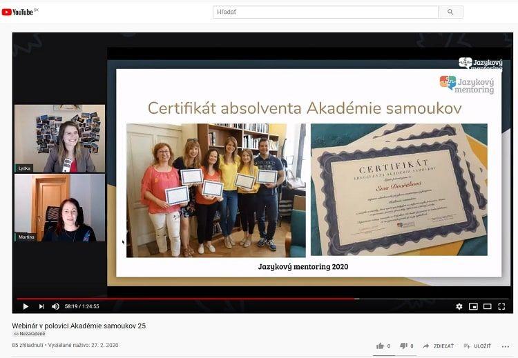 Zivy webinar pre ucastnikov Akademie samoukov (vysielanie cez internet)