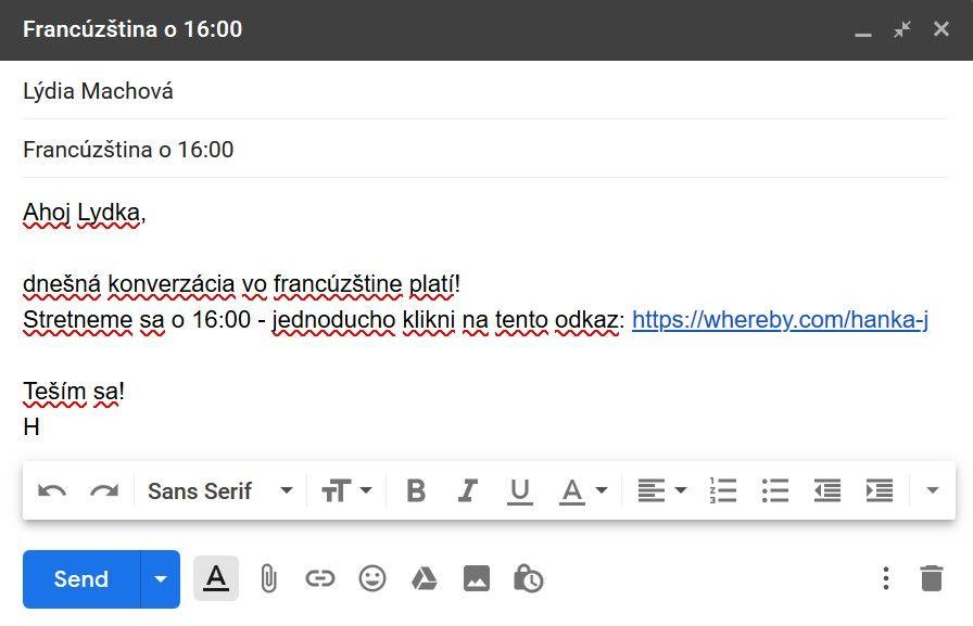 Posielanie odkazu naWhereby miestnost cez email