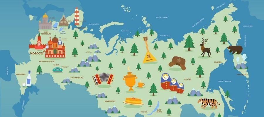 Ako sa naučiť po rusky - mapa Ruska