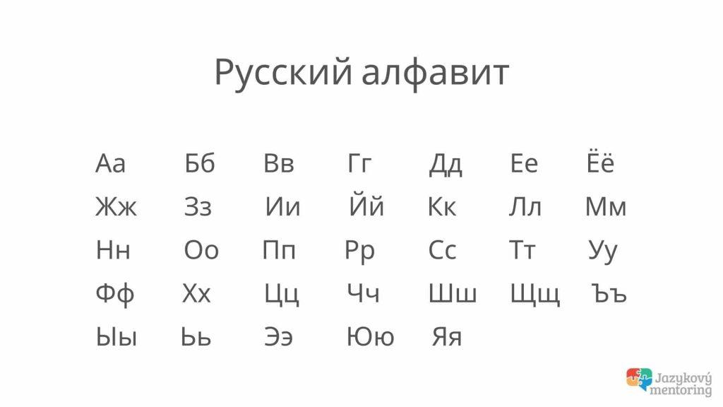 ruská azbuka tlačená