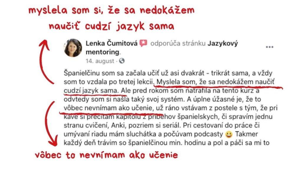 Referencia od Lenky, ktorá učenia jazyka už nevníma ako učenie ale súčasť každodenného života.