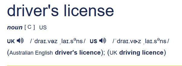 """Rozdiely medzi britskou aamerickou angličtinou ukázané navýraze """"vodičský preukaz"""""""
