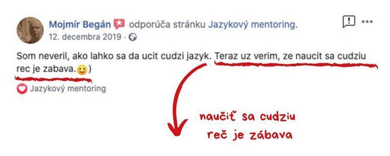 """Obrázok referencie zFacebooku - """"Naučiť sa cudzí jazyk je zábava"""""""