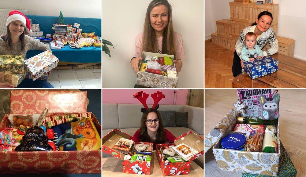 členky tímu svianočnými krabičkami pre projekt Kolľko lásky