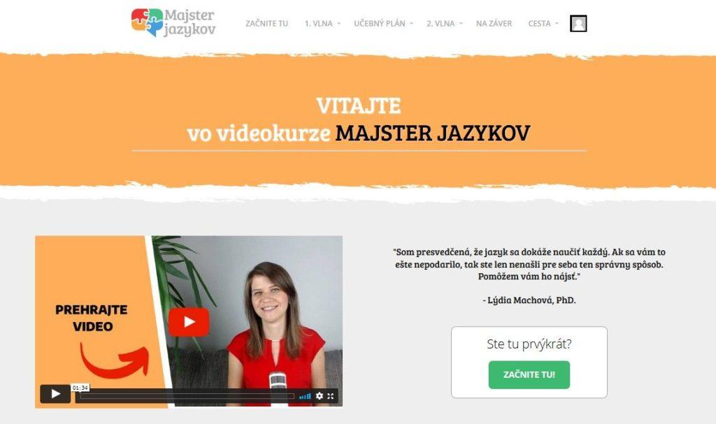 Fotka obrazovky domovskej stránky vkurze Majster jazykov